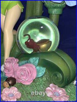 14 Inch Disney Tinker Bell Snowglobe 3 Mini Globes Flowers & Fireflies
