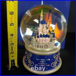 2021 Disney Parks 50th Anniversary Cinderellas Castle Water Snow Globe MUSICAL