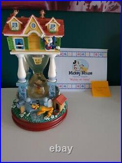AMAZING Walt Disney MICKEY'S HOUSE Hourglass Snowglobe Lights Up Music Box