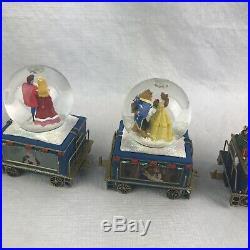 Bradford Exchange Disney Express Christmas Train Snow Globe Musical Set 5 New