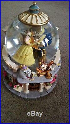 Disney BEAUTY AND THE BEAST Music Box Snow Globe Rare Retired Rose Garden