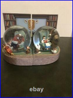 Disney Beauty & The Beast Snow Globe Bookends. RARE