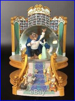 Disney Beauty and the Beast Library MAGICAL SURPRISED Musical Snow Globe