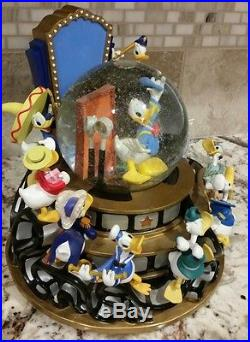 Disney Donald Duck THROUGH THE YEARS Large Musical Light Up Motion SnowGlobe