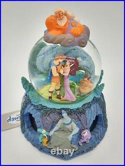 Disney Hercules Musical Snow Globe Megara Zeus Hades Rotating Base SEE VIDEO