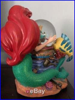 Disney LITTLE MERMAID Ariel Snow Globe, Music Box Under the Sea Couple Twirls