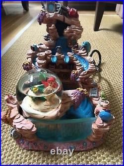Disney Little Mermaid Ariel Snow Globe Light Water Fountain WORKS