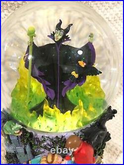 Disney Maleficent Sleeping Beauty Snow globe, Masters Animation Lights Up With Box