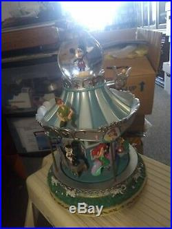Disney Mickey Alice Peter Pan Dumbo Ariel Aladdin Pinocchio Carousel Snowglobe