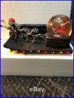 Disney NBX Nightmare Before Christmas Santa Jack Skellington Sleigh Snowglobe