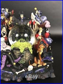 Disney Parks VILLAINS Light Up Musical Snow Globe. Maleficent, Captain Hook