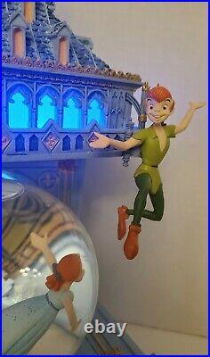 Disney Peter Pan Snow Globe You Can Fly Big Ben Clock Tower Light-up has repairs
