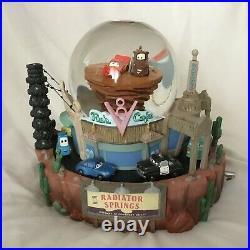Disney Pixar CARS Radiator Spring KING OF THE ROADMusical Figurine SnowGlobe-MIB