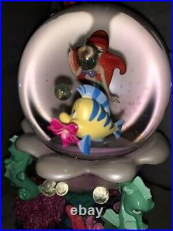 Disney Princess Little Mermaid Ariel Snow Globe Musical Flounder MINT NWO 1988