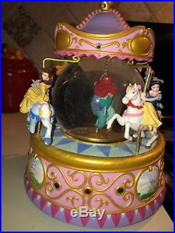 Disney Princess Musical Carousel Snowglobe Ariel Cinderella Snow White Aurora