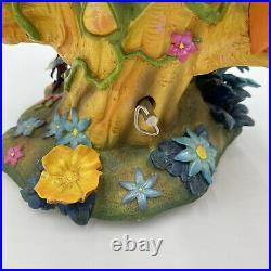 Disney Rare Tinkerbell triple snowglobe Tree-three faeries music box-BEAUTIFUL