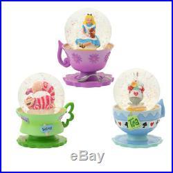Disney Store 25th Alice Cheshire cat White Rabbit Snow Globe Dome Set figure