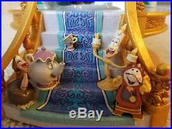Disney Store Beauty and the Beast Library Dancing Musical Snow Globe Rare