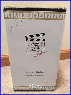 Disney Store Japan 25th Anniversary Alice in Wonderland Hourglass Snow Globe