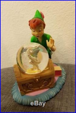 Disney Store Peter Pan & Tinkerbell Snowglobe Tink Water Snow Globe RARE
