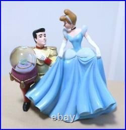 Disney Store Princess Cinderella Prince glass slipper Snow Globe Figure MusicBox