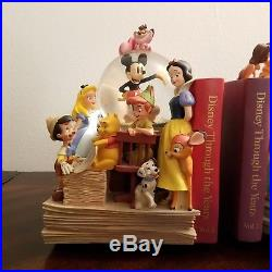 Disney Through The Yrs Book Ends Musical Water Globes With Battery Operated Fans