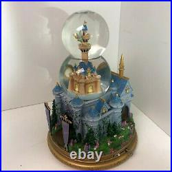 Disney Tinkerbell Cinderella's Castle Double Globe Rare Light Motion Snowglobe