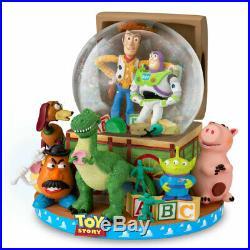 Disney Toy Story Snow Globe Buzz Woody Alien Ham Rex Musical Glitter Globe