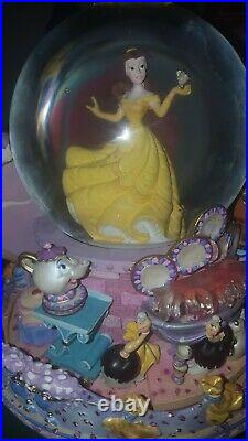 Disney's Beauty & the Beast Belle Musical rotating Snow Globe Be Our Guest 1991