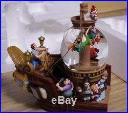 Disney's Peter Pan Snow Globe Captain Hook & Tinker Bell On Pirate Ship Music