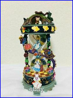 Disney store Japan 25th Anniv. Alice in Wonderland Snow Globe Dome Music box NEW