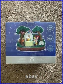 NIB Disney Alice In Wonderland Snow Globe Musical Mad Hatter's Tea Party Rare