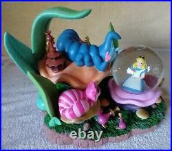 RARE Alice in Wonderland Snow Globe Disney Caterpillar Musical Lights Up