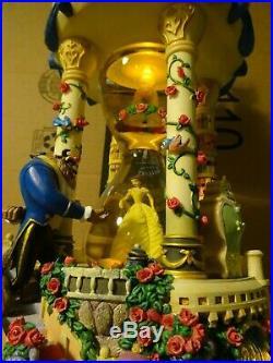 RARE DISNEY Beauty and the Beast Hourglass Snow Globe Musical & Lights