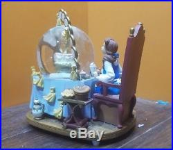 RARE Disney Beauty and the Beast Belle Be My Guest Dinner Music Water Snow Globe