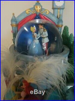RARE Disney Cinderella Fountain Snowglobe Prince Charming Dancing Snow Globe