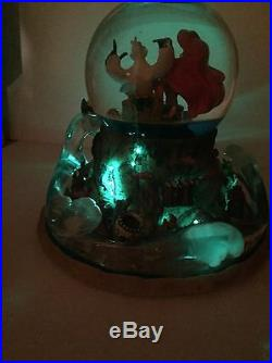 RARE Disney LITTLE MERMAID MUSICAL SNOW WATER GLOBE LIGHTS UP Part Of Your World