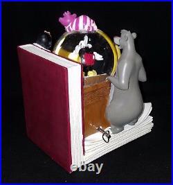 RARE Disney MUSICAL SNOW GLOBE BOOKEND Book End Pooh Baloo Mickey Pan Alice 101
