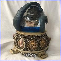 RARE Disney PIRATES OF THE CARIBBEAN Musical Snowglobe-MIB & ART WORK