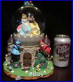 RARE Disney Princess Cinderella Castle Sleeping Beauty Belle Snowglobe Music Box