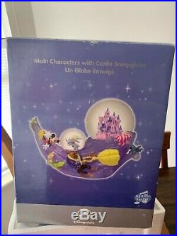 RARE Disney Store Multi Characters With Castle Snowglobe Mickey, Beauty & Beast