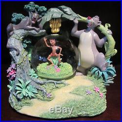 RARE Disney The Jungle Book Bagheera Mowgli Baloo Bananas Snowglobe Music Box