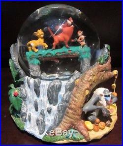RARE Disney The Lion King Hakuna Matata Simba Timon Pumbaa Snowglobe Music Box