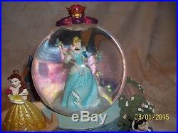 RARE! Walt Disney PRINCESS BELLE SNOW WHITE AURORA CINDERELLA AERIAL Snowglobe