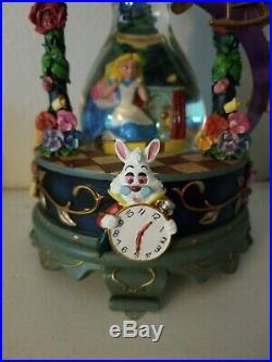 RareDisney 25th Anniversary Alice In Wonderland Hourglass Snow globe Music Box