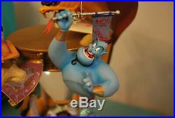Rare Disney Aladdin Hourglass Musical Snow Globe Lights Up Arabian Nights