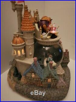 Rare Disney Beauty and the Beast Village Snow Globe HTF