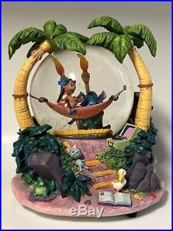 Rare Disney Lilo and Stitch snow globe Musical Aloha Oe 8 tall