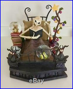 Rare Disney Nightmare Before Christmas Jack In Bed Snow Globe with lights/music