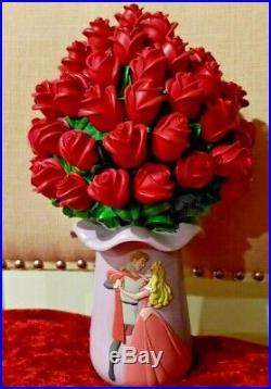Very Rare Disney Sleeping Beauty Rose Flowers Bouquet Snow Globe